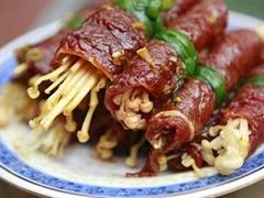 Lạ miệng với món thịt bò nướng cuộn nấm kim châm